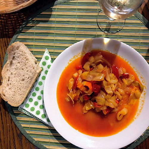 Zsófia: 'This is the vegan version of goulash, it's called Lecsó and it tastes delicous!'