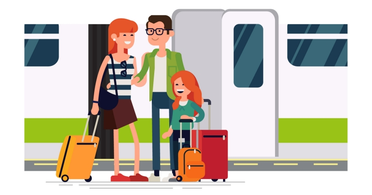 family happy on train