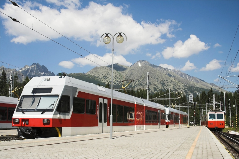 Scenic view of mountains ans trains in Slovakia