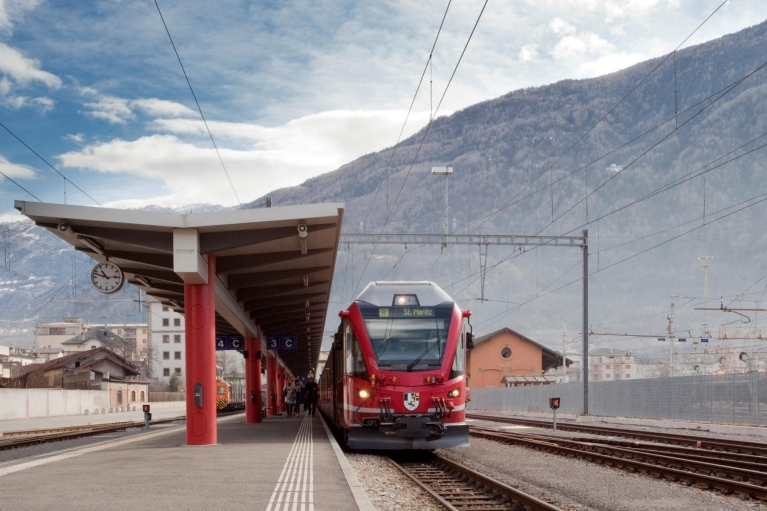 Bernina Express at train station