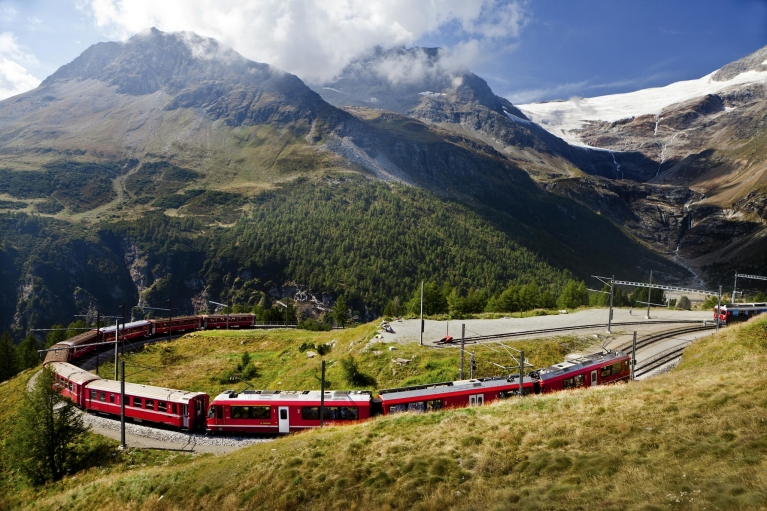 Bernina Express in Alps