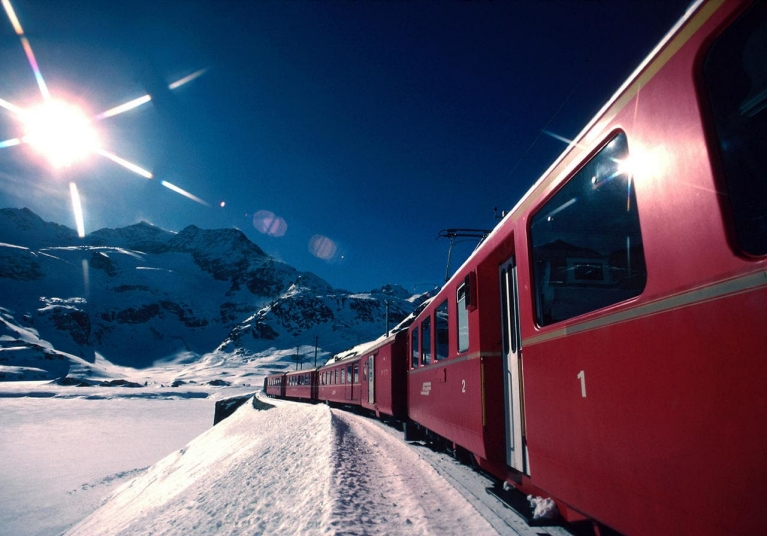 Bernina Express in snow