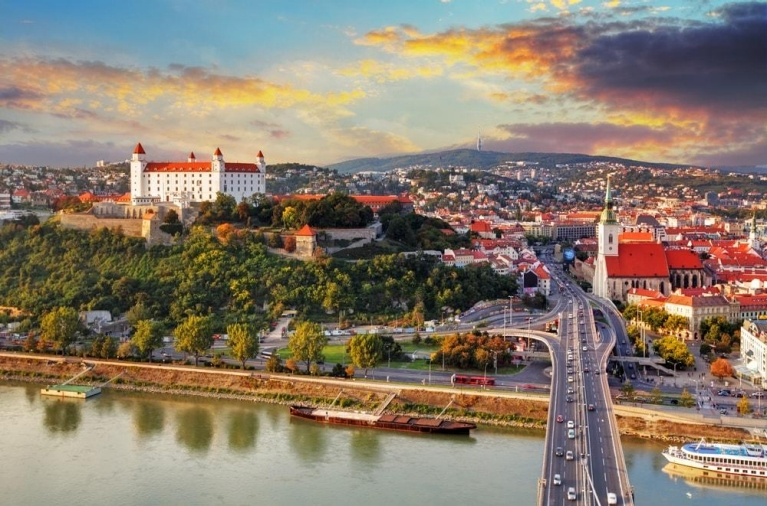 Aerial views of Bratislava with castle and St. Martin's cathedral, Slovakia