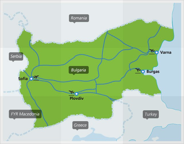Map with main train connections in Bulgaria