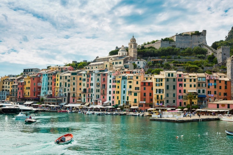 Traditional boats at porto venere harbor of la spezia