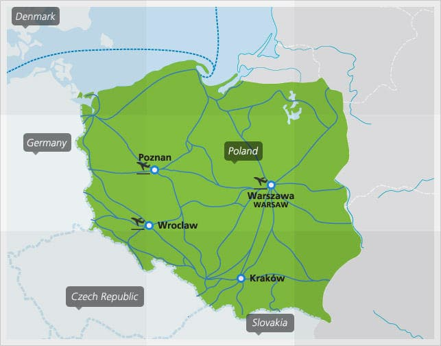 Map with main train connections in Poland
