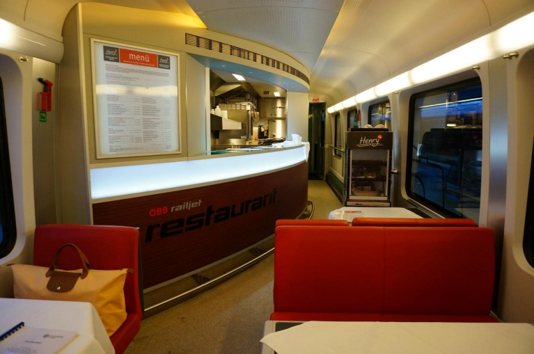 Restaurant car in Railjet high-speed train in Austria