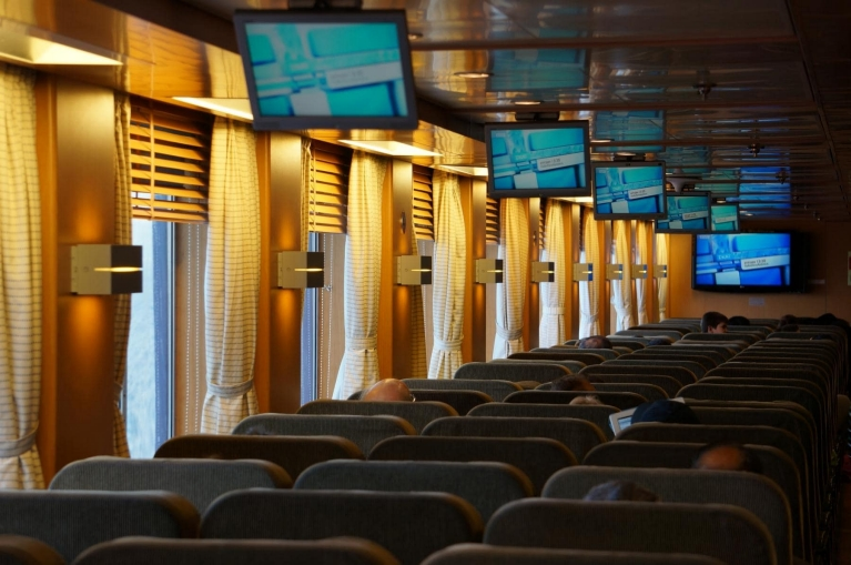 Seats on board the Blue Star Ferry