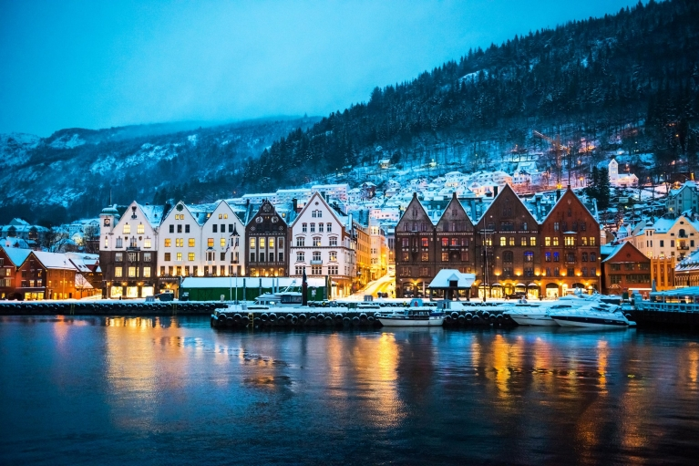 Bergen's wooden houses by night