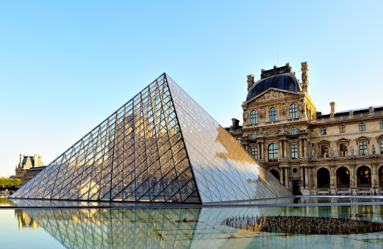 The Louvre and the glass pyramid