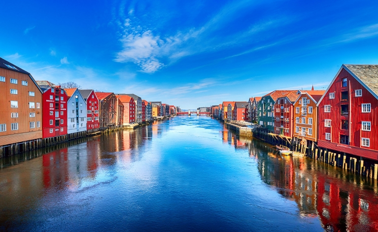 Colorful houses in Trondheim