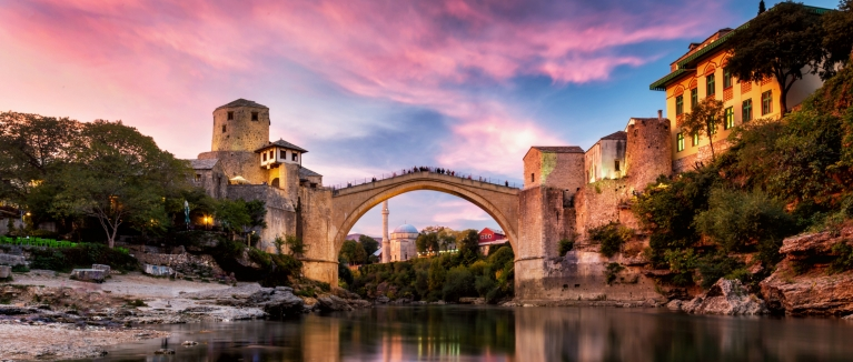 Mostar bridge at sunrise