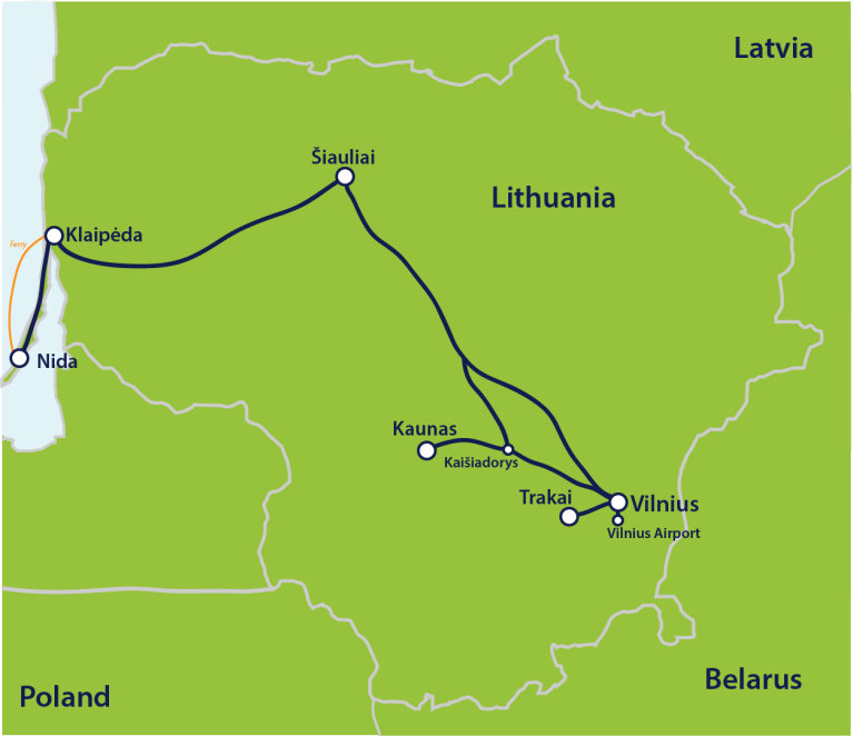 Map lithuania itinerary